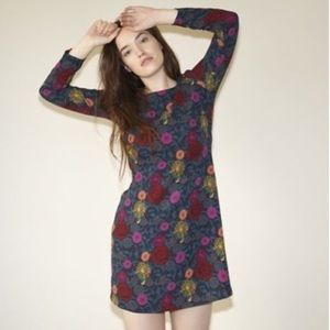 AMERICAN APPAREL Green Floral Long Sleeve Dress